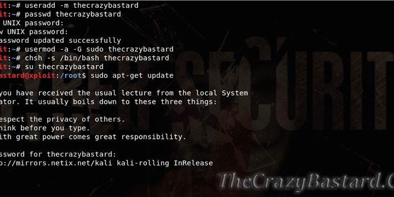 How to create a standard user on Kali Linux
