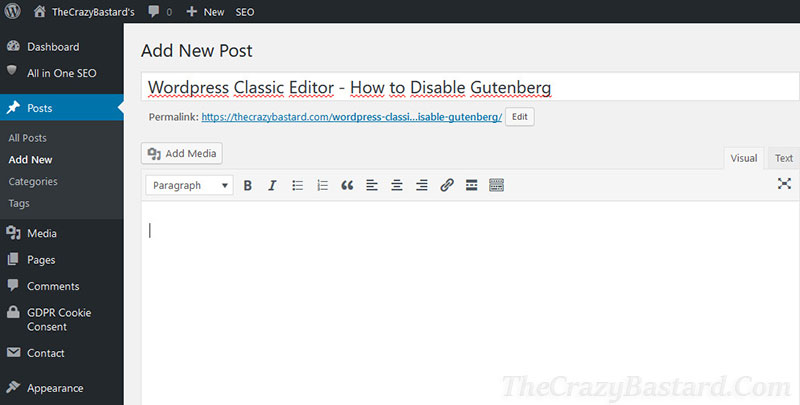 WordPress Classic Editor – How to Disable Gutenberg